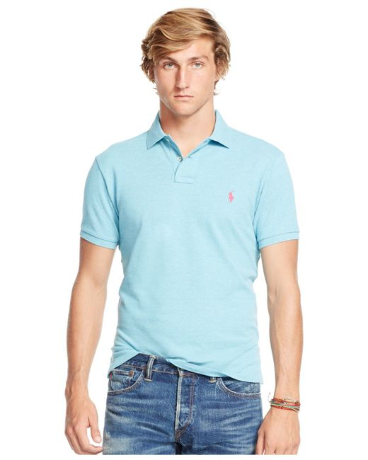 polo ralph lauren custom fit mesh polo shirt in blue for