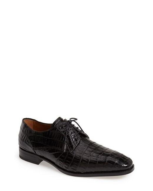 Mezlan | Black 'orazio' Crocodile Plain Toe Derby for Men | Lyst