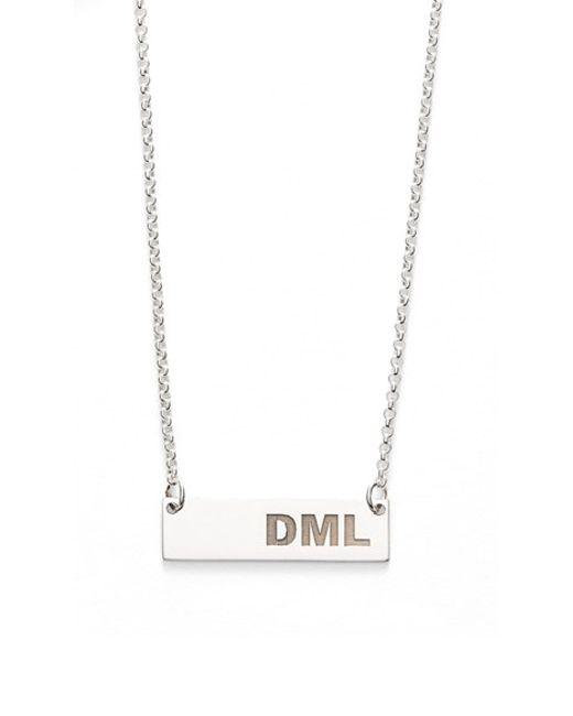 Argento Vivo | Metallic Personalized 3-letter Bar Pendant Necklace | Lyst