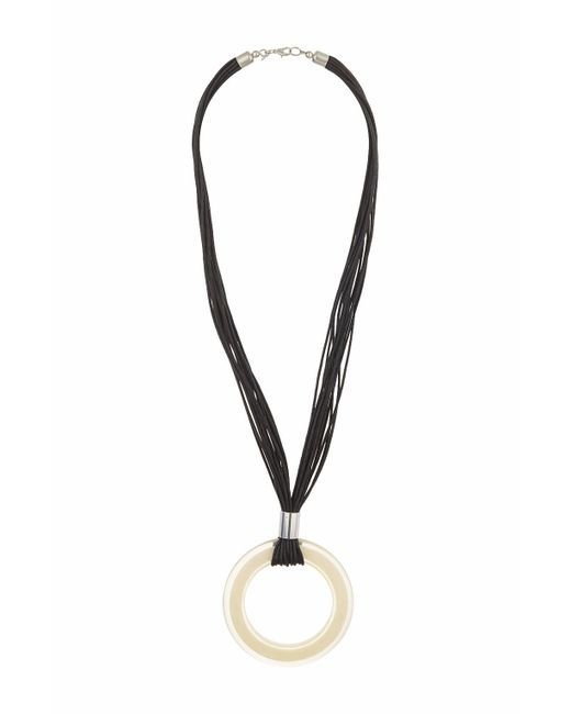 TOPSHOP | Black Resin Circle On Cord Necklace | Lyst