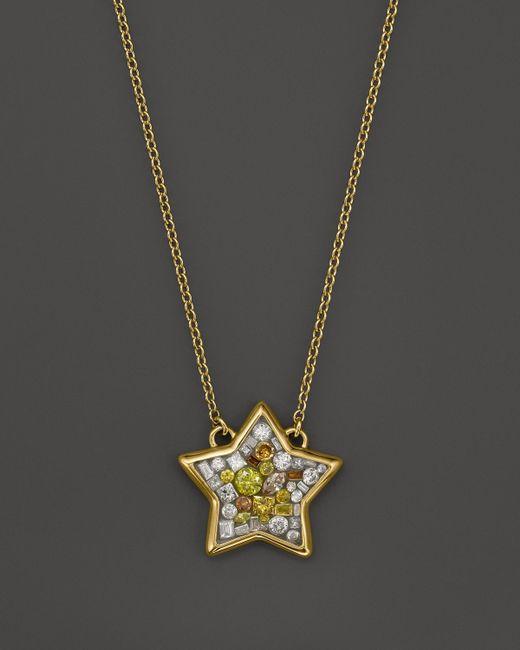 "Plevé   Metallic 18k Yellow Gold Sun Burst Mosaic Star Pendant Necklace With Diamonds, 16.5""   Lyst"