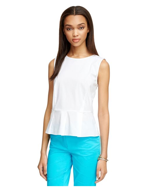 Brooks Brothers | White Sleeveless Peplum Shirt | Lyst