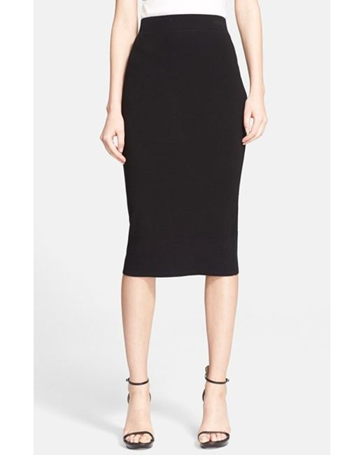 michael kors stretch knit pencil skirt in black lyst