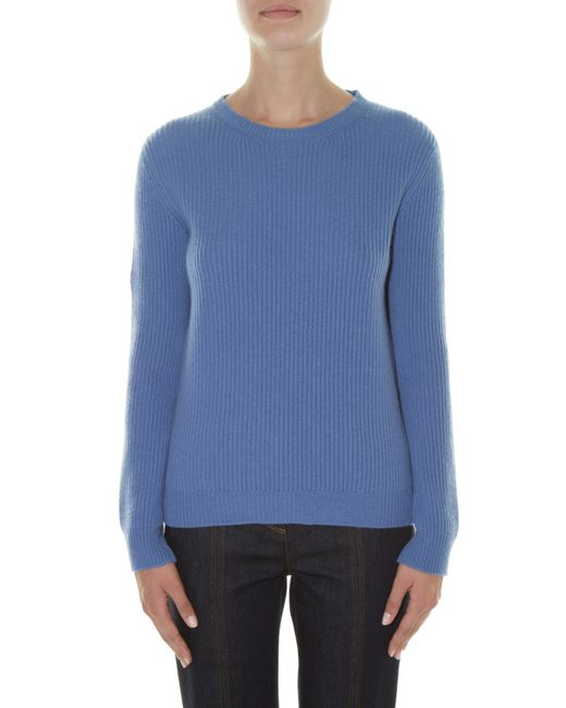 Valentino   Blue Crew-neck Ribbed-knit Sweater   Lyst