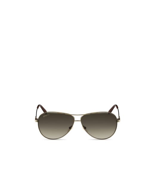 Ferragamo Gancini Temple Aviator Sunglasses, 60mm in Metallic for Men ...