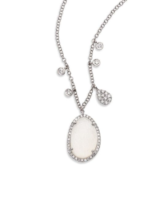 Meira T | Druzy, Diamond & 14k White Gold Pendant Necklace | Lyst
