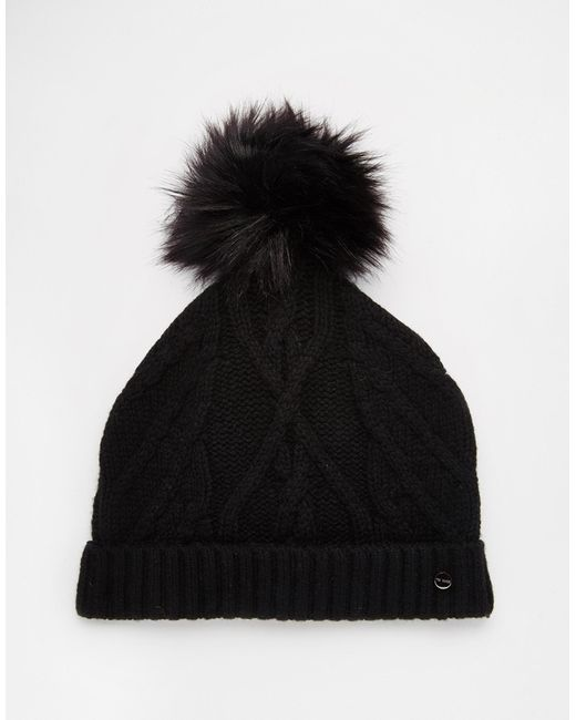 Ted Baker | Black Atexia Cable Knitted Hat With Pompom | Lyst