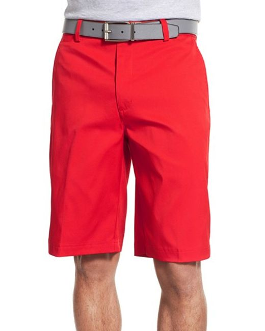 Nike Flat Front Golf Shorts In Red For Men University Red