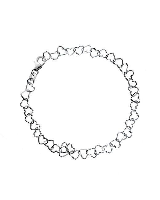 Azendi | Metallic Sterling Silver Heart Link Bracelet | Lyst