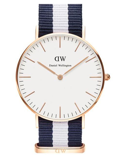 Daniel Wellington | Blue 'classic Glasgow' Round Nato Strap Watch | Lyst