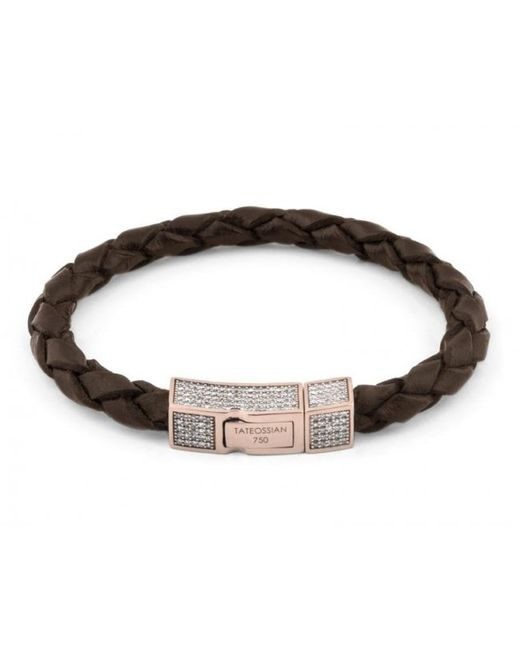 Tateossian | Single Wrap Brown Leather Scoubidou Bracelet With White Diamond And 18k Rose Gold Clasp for Men | Lyst