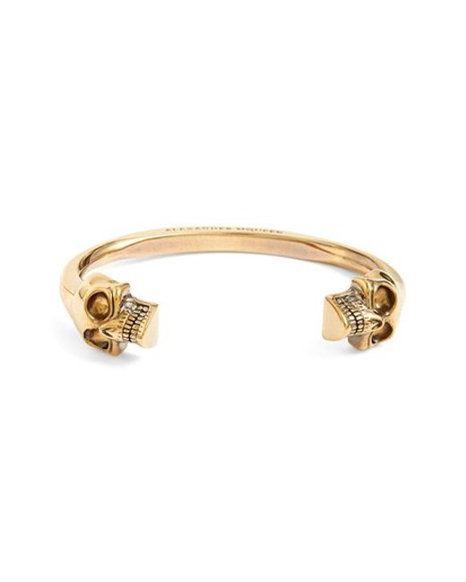Alexander McQueen | Metallic Twin Skull Cuff Bracelet | Lyst