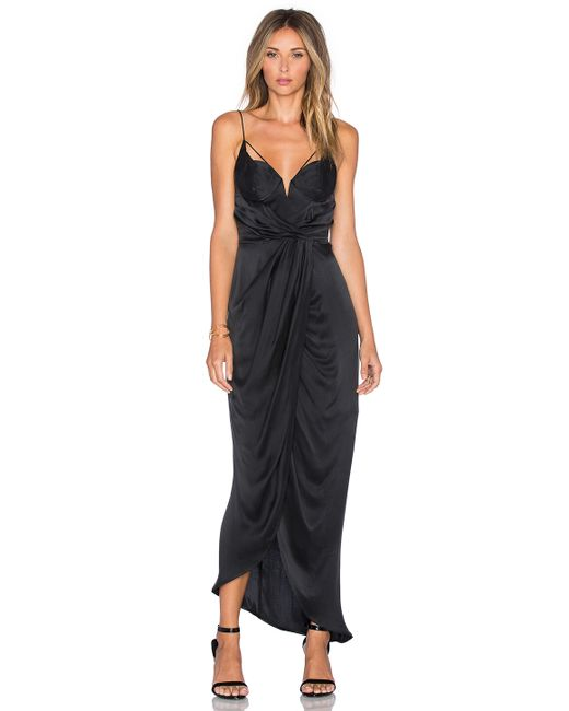 Zimmermann Sueded Balconette Long Dress In Black Lyst
