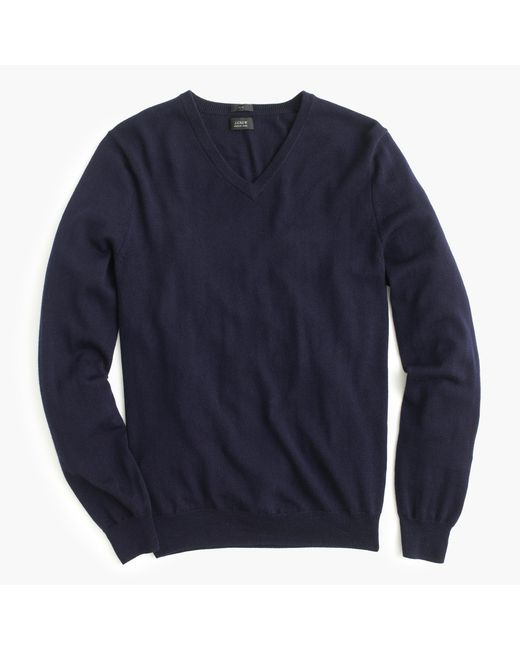 J.Crew | Blue Slim Merino Wool V-neck Sweater for Men | Lyst
