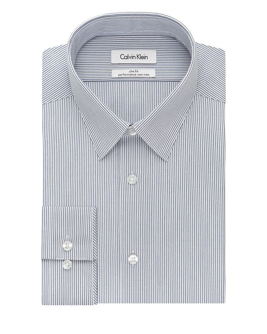 Calvin klein ck steel slim fit striped dress shirt in blue for Calvin klein athletic fit dress shirt