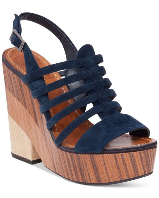 vince camuto onia platform wedge sandals in blue