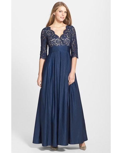 Eliza J | Blue Lace & Faille A-line Gown | Lyst
