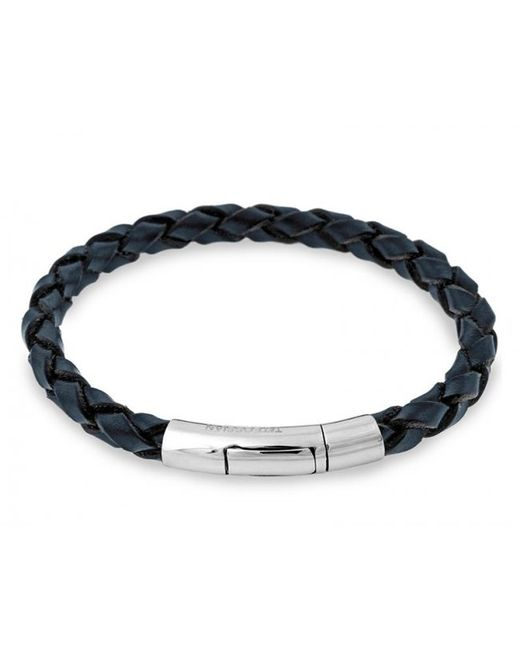 Tateossian | Blue Single Wrap Scoubidou Navy Leather Bracelet With 18k White Gold Clasp for Men | Lyst