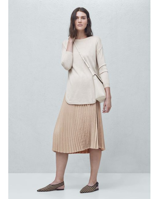 mango pleated midi skirt in pastel pink save