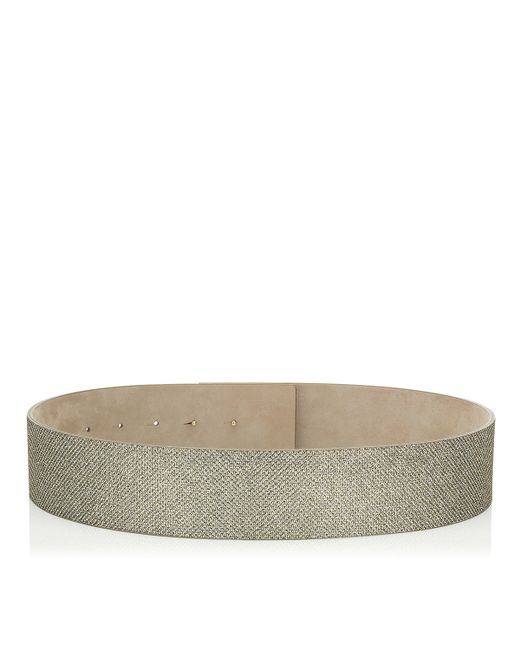 Jimmy Choo | Metallic Brenda Light Bronze Lamé Glitter Belt | Lyst