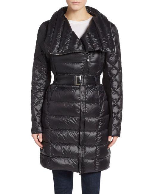 Saks Fifth Avenue   Black Packable Belted Nylon Coat   Lyst