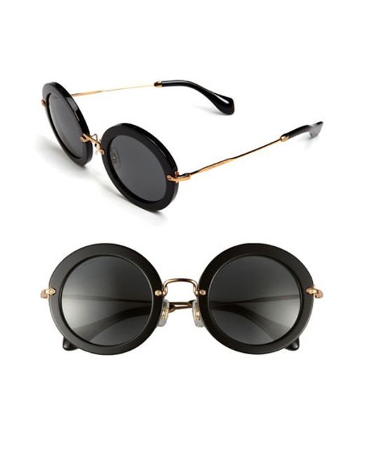 f851cdee3db Miu miu 49mm Round Retro Sunglasses in Black