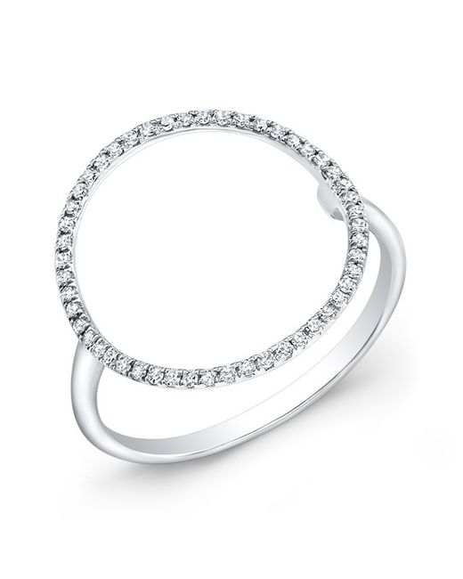 Anne Sisteron | Metallic 14kt White Gold Diamond Open Circle Diamond Ring | Lyst