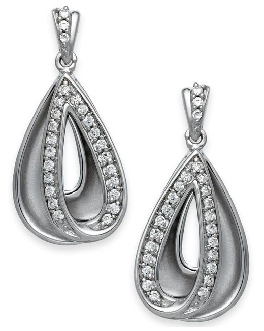 Macy's | Metallic Diamond Teardrop Earrings In Sterling Silver (1/4 Ct. T.w.) | Lyst