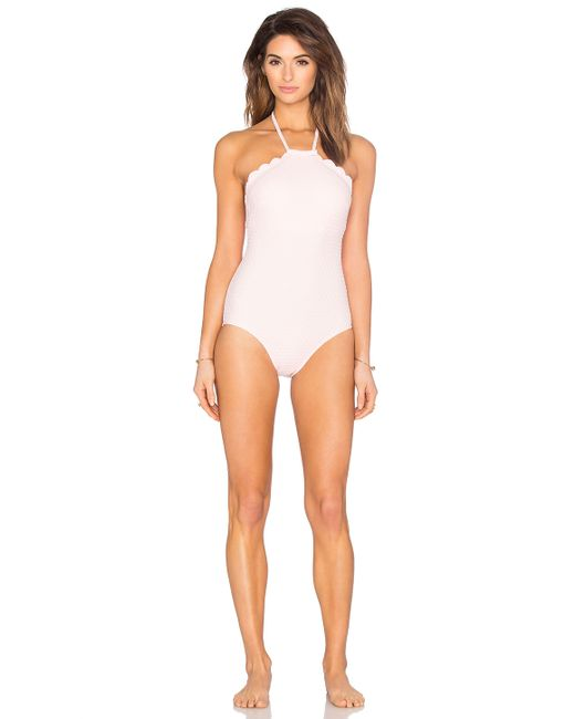 Pastry Shoes 2016 >> Kate spade Scalloped High Neck Swimsuit in Pink   Lyst