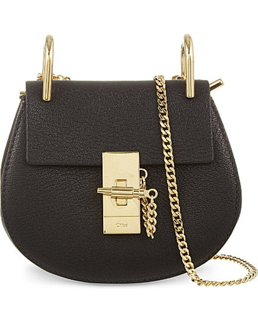 Chloé | Black Drew Nano Saddle Leather Cross-Body Bag | Lyst
