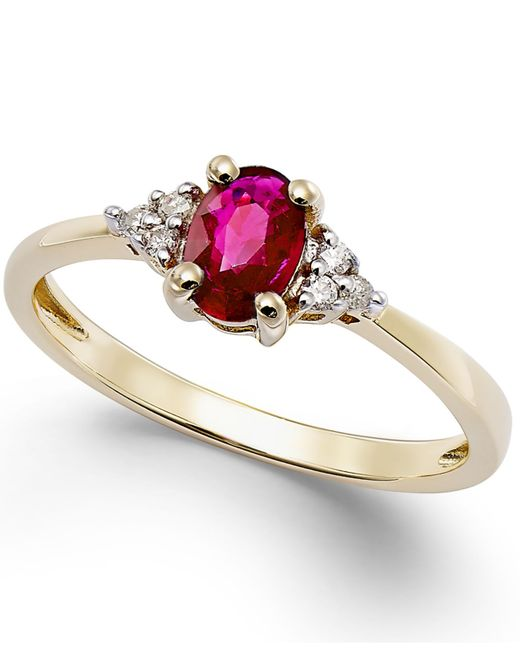 Macy's | Metallic Ruby (3/5 Ct. T.w.) And Diamond Accent Ring In 10k Gold | Lyst
