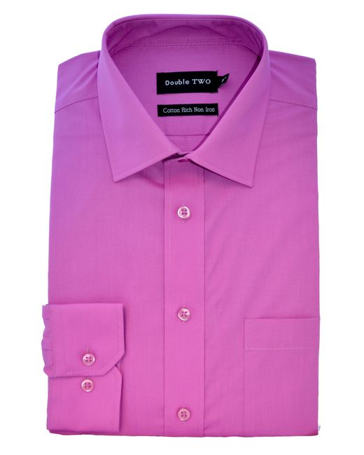 Double Two | Purple Plain Poplin Long Sleeve Shirt for Men | Lyst