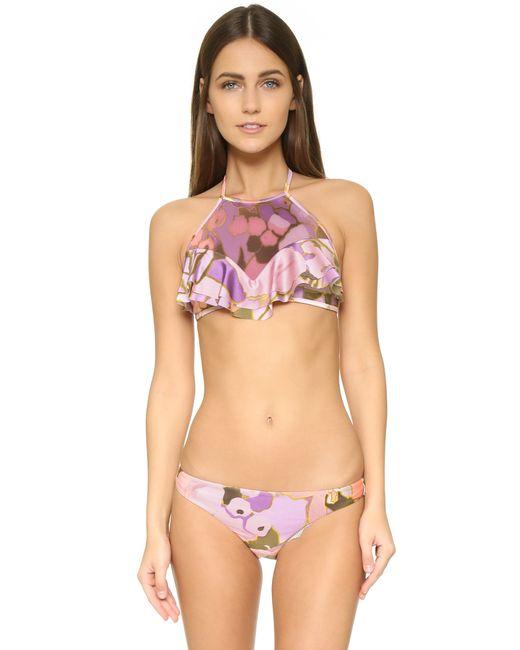 Zimmermann Lotte Frill Halter Bikini In Pink Lyst