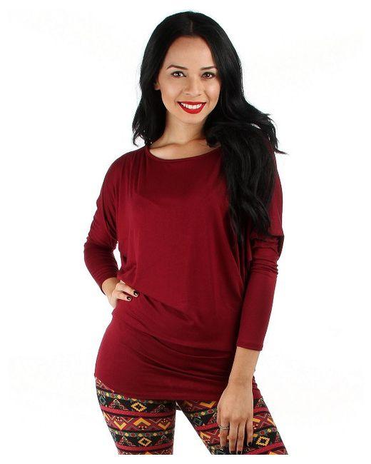 Fashion club usa Dolman Sleeve Top in Red (burgundy)