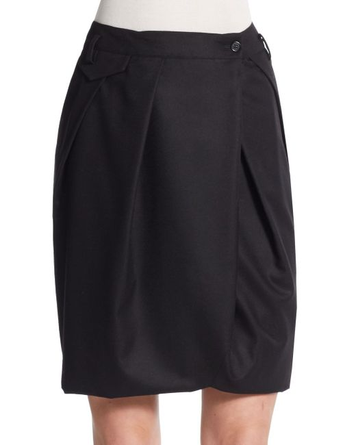pauw gathered wool pencil skirt in black save 84 lyst