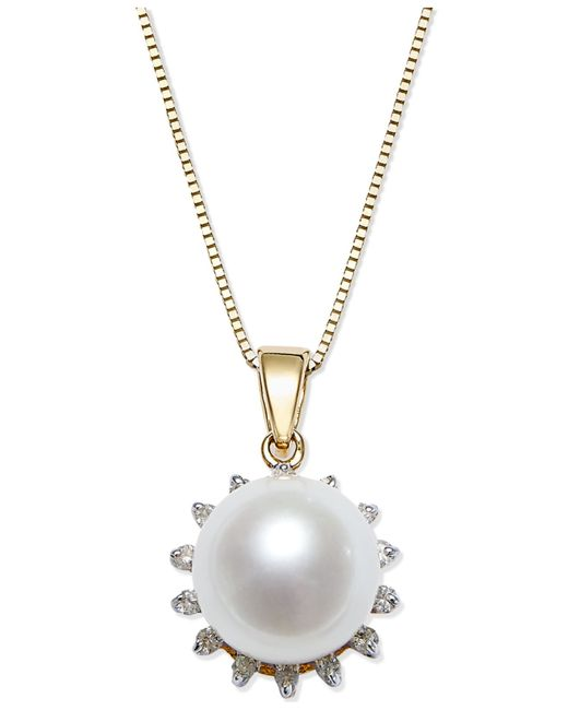 Macy's | Metallic Cultured Freshwater Pearl (8mm) And Diamond (1/10 Ct. T.w.) Pendant Necklace In 14k Gold | Lyst