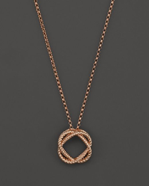 Roberto Coin | Pink 18k Rose Gold Small Twisted Circle Pendant Necklace, 16"