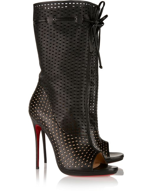 Christian louboutin Jennifer 120 Perforated Leather Boots in Black ...