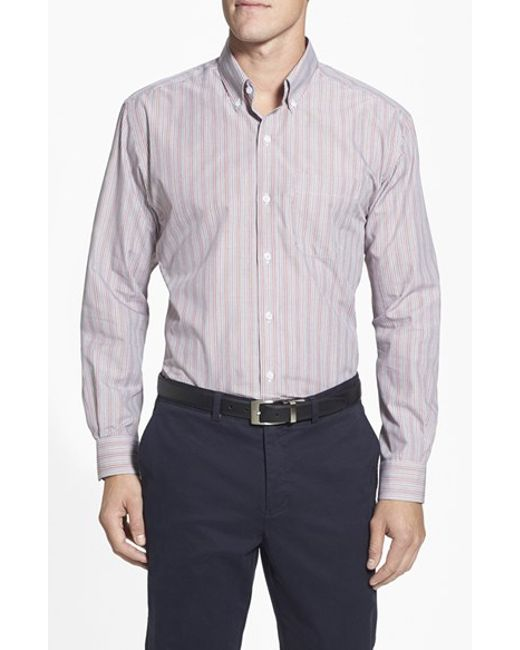 Cutter & Buck | Gray 'epic' Classic Fit Easy Care Stripe Sport Shirt for Men | Lyst
