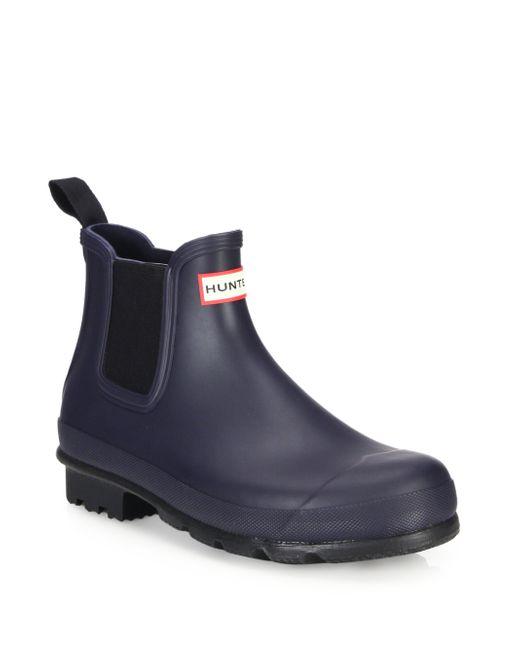 Hunter | Blue Original Short Slip-on Rain Boots for Men | Lyst
