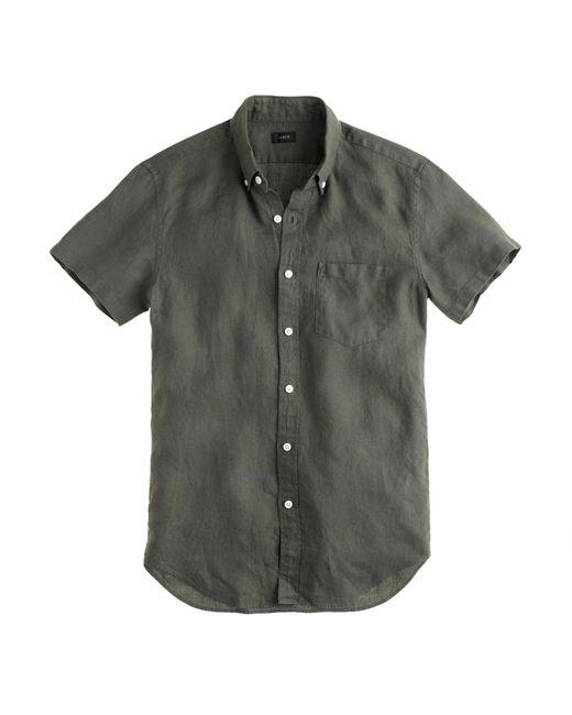 Short sleeve irish linen shirt in gray for men lyst for Irish linen dress shirts