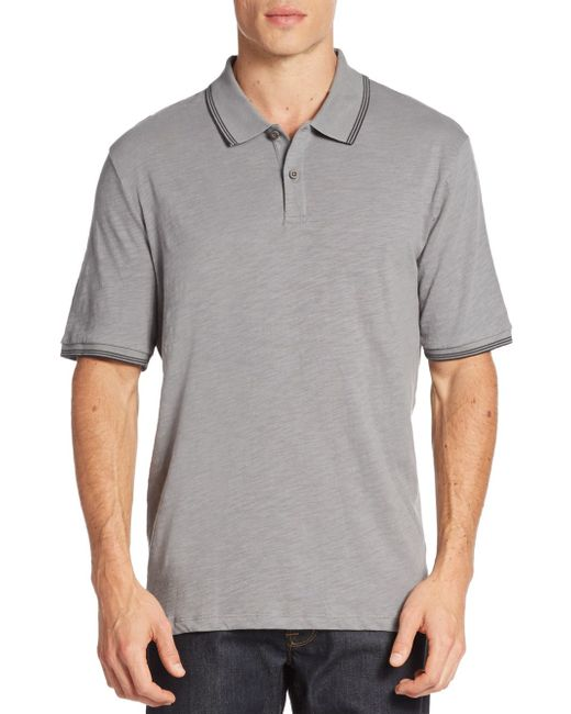 Saks Fifth Avenue | Gray Contrast-tipped Polo Shirt for Men | Lyst