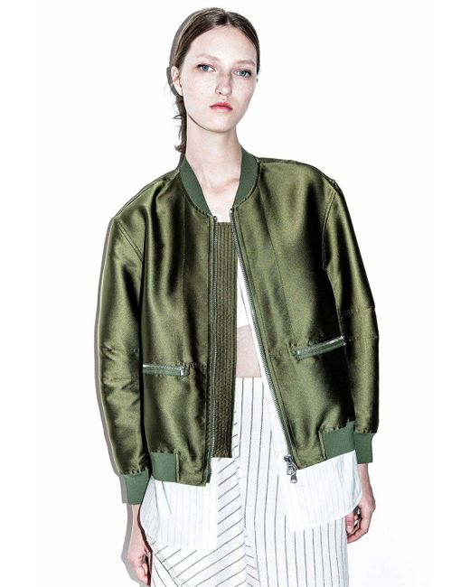 3.1 Phillip Lim - Brown 'tromp L'oeil' Shirt Underlay Satin Bomber Jacket - Lyst