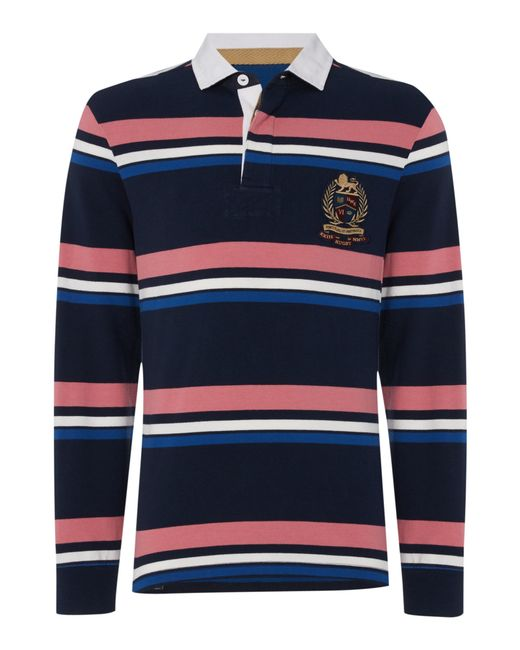Howick Duxbury Striped Long Sleeve Rugby Shirt In Blue For