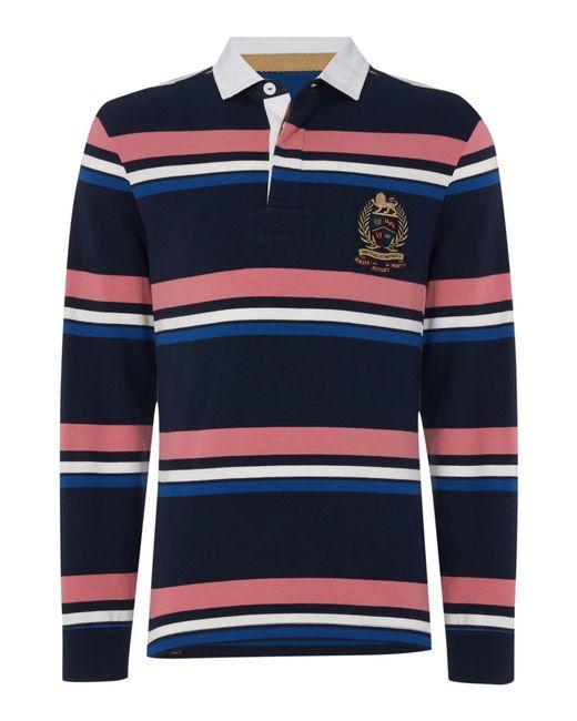 Howick duxbury striped long sleeve rugby shirt in blue for for Navy blue striped long sleeve shirt