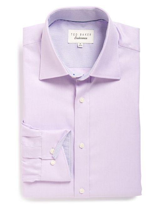 Ted Baker | Purple 'harb' Trim Fit Herringbone Dress Shirt for Men | Lyst