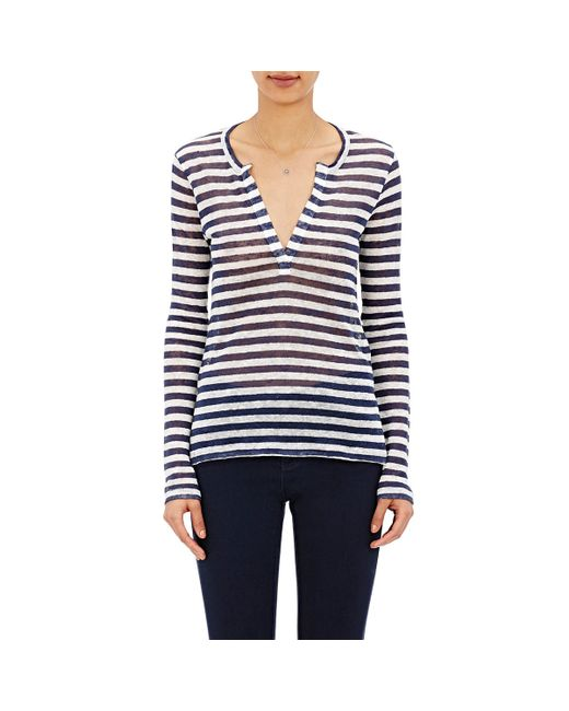 Barneys new york women 39 s striped long sleeve t shirt in for Blue and white striped long sleeve t shirt