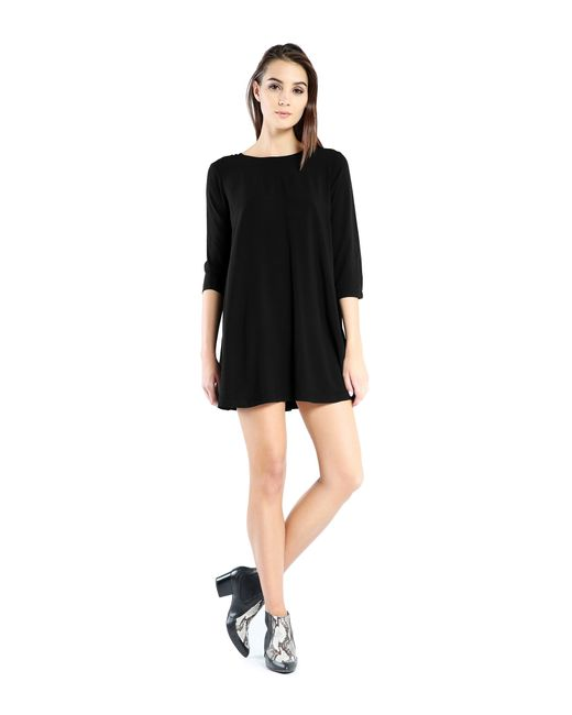 Michael Stars | Black Rayon 3/4 Sleeve Mini Dress | Lyst