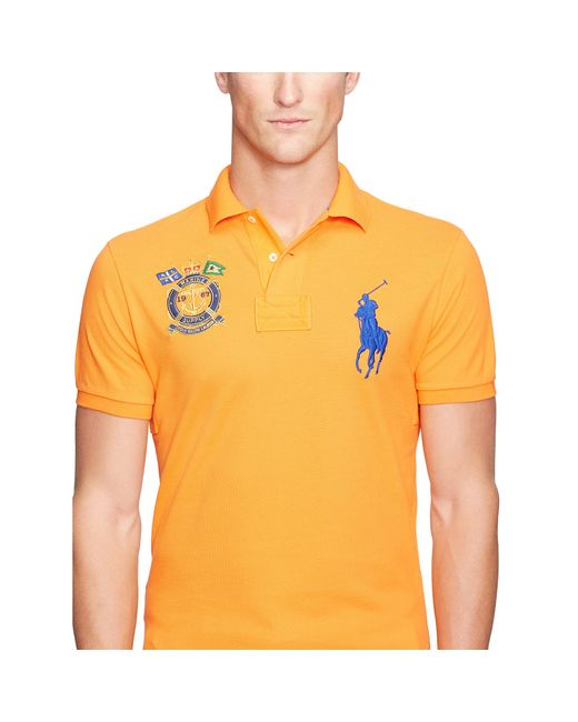 polo ralph lauren custom fit big pony polo shirt in orange. Black Bedroom Furniture Sets. Home Design Ideas