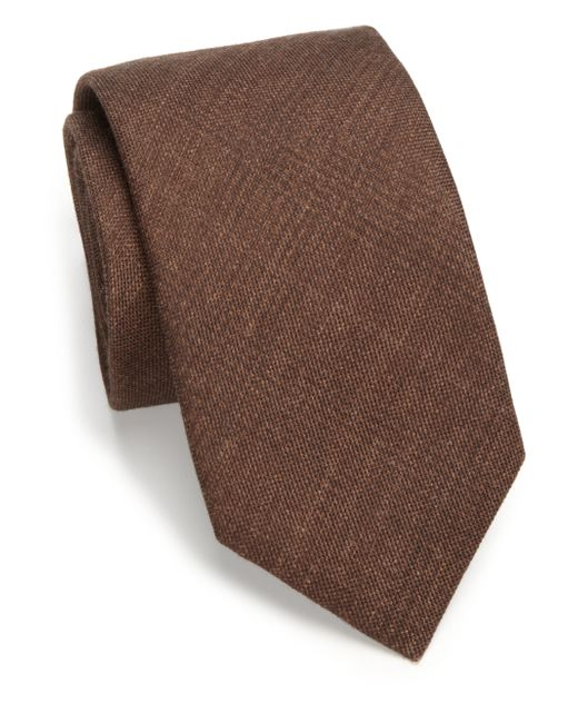 Saks Fifth Avenue | Brown Solid Plaid Silk & Wool Tie for Men | Lyst